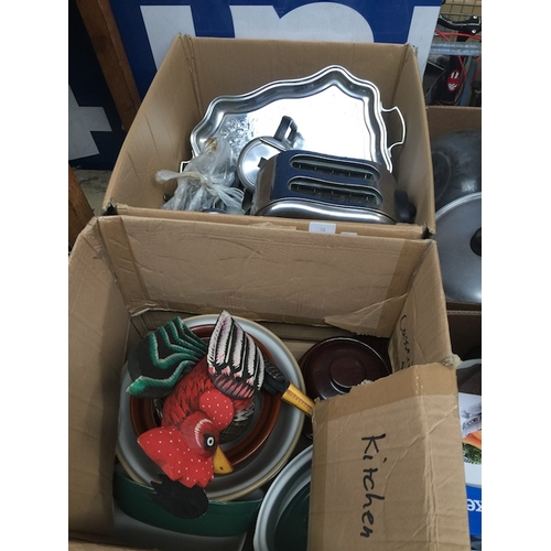 56 - 2 boxes of kitchenware to include chromed, stainless steel, toaster, pottery pots, cutlery, tray, ju...