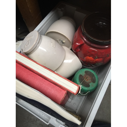 58 - A box containing jars, a Rumtopf vase, few books and a Parasene heater....