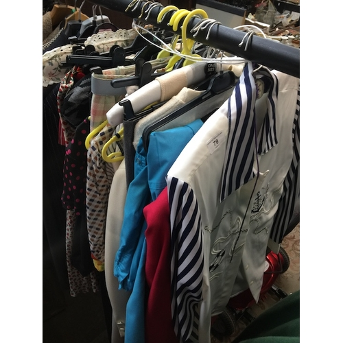 79 - Fashion interest - A collection of approx 27 clothing items to include blouses, dresses, trousers, s...