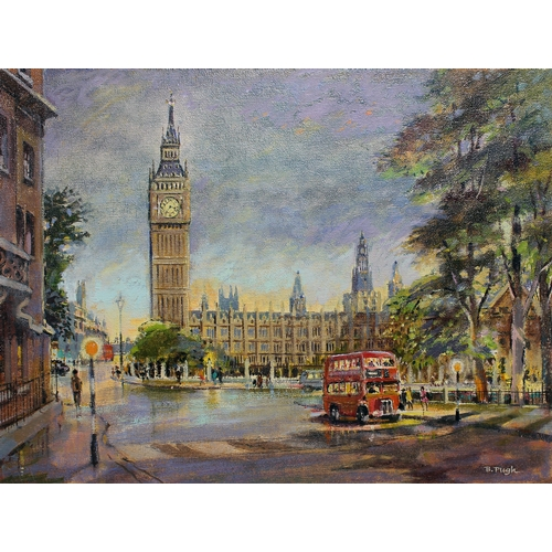 3 - Bert Pugh (1904-2001), a group of five London scenes, acrylic on canvas board, approx. 39cm x 28cm e...