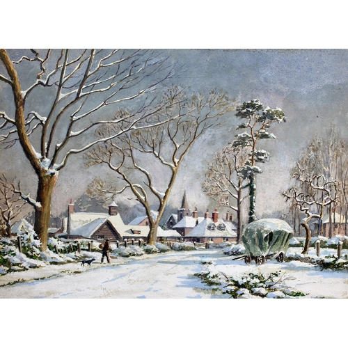 8 - A group of fourteen winter scenes, probably Christmas card designs, various artists including Maxwel...