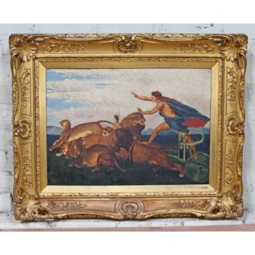 10 - Early 20th School, Britannia riding a chariot pulled by lions, oil on canvas, 62cm x 44cm, signed 'W...