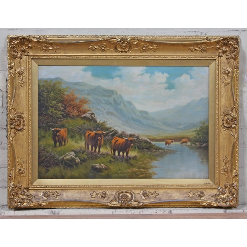 11 - 19th Century School, mountain landscape with cattle, oil on canvas, 74cm x 49cm, indistinctly signed...