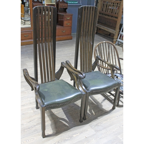 30 - A pair of late 20th century Glasgow School chairs, width 60cm, depth 60cm & height 141cm....