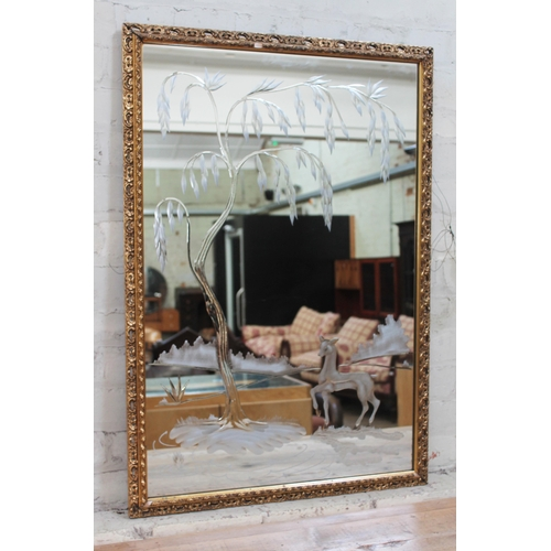 36 - An Art Deco etched mirror, later frame, 68cm x 98cm....