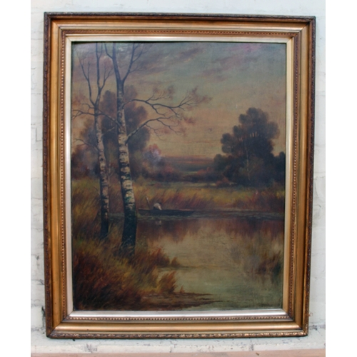 45 - S.J. Spence, lake scene, oil on board, 67cm x 85cm, signed lower right, framed 84cm x 102cm....