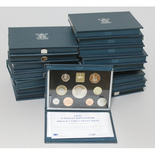 109 - 17 Royal Mint proof coin sets comprising consecutive years 1983 - 1999, all cased with certificates....