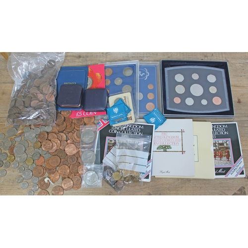 111 - A Royal Mint 2000 proof coin set together with other proof coins and loose coinage....