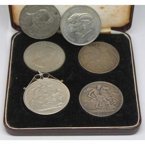 114 - A group of five crowns comprising 1902, 1935, 1951, 1965 and 1981 together with a Edward VII Coronat...