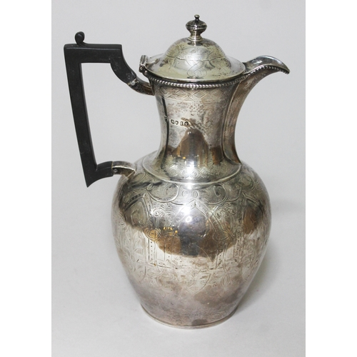 127 - A Victorian silver coffee pot with Aesthetic style engraving, Martin Hall & Co, London 1874, height ...