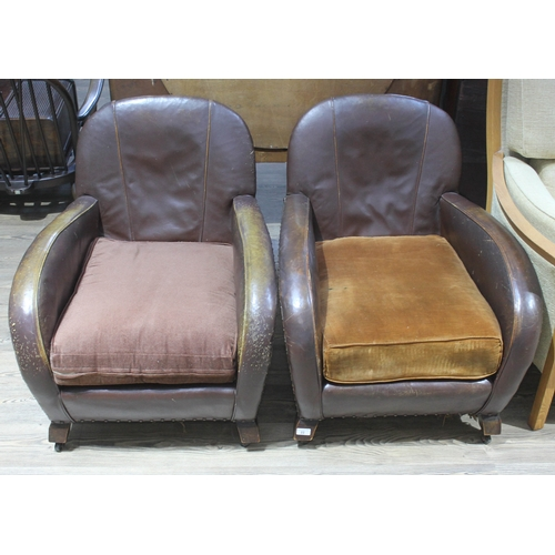 24 - A pair of Art Deco leather club armchairs, width 68cm, depth 85cm & height 75cm....