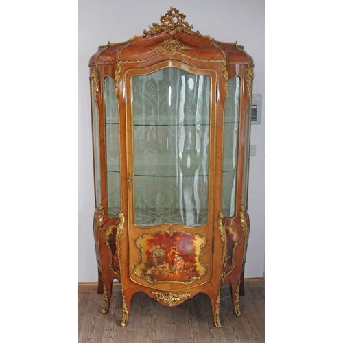 11 - A French Louis XV revival kingwood vitrine display cabinet, late 19th/early 20th century, of five si...