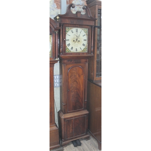 13 - A Georgian mahogany eight day longcase clock having broken swan neck pediment, turned pillars, the p...