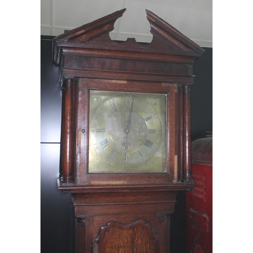18 - A Georgian oak 30 hour longcase clock, the square brass dial signed 'Helme Ormskirk',  dial width 30...