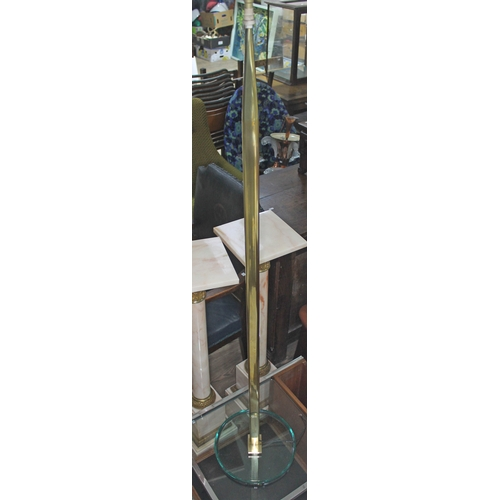 29 - A retro brass and glass based standard lamp in the manner of Fontana Arte, unmarked, height 150cm....
