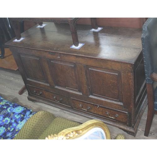 34 - A Georgian 18th century panelled oak mule chest, length 135cm, depth 58cm & height 82cm....