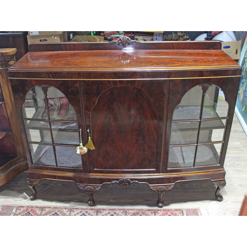 45 - A bow front mahogany display cabinet with shell carving and cabriole legs, width 144cm, depth 44cm &...