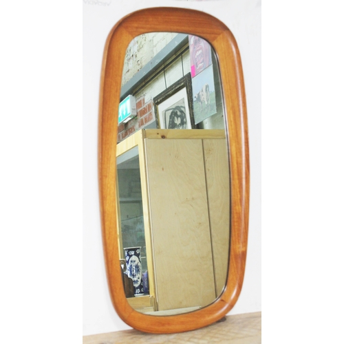 50 - A Danish teak framed mirror 41cm x 81cm....