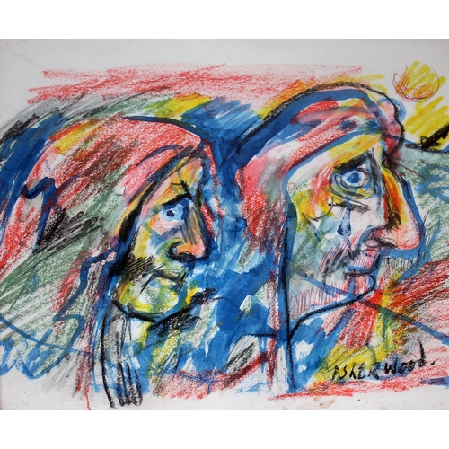 53 - James Lawrence Isherwood (1917-1989), two old woman, crayon and wash, 29cm x 29cm, signed lower righ...