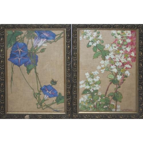 64 - Kathleen Irene Blundell Kay Nixon (1894-1988), pair, still life, watercolour on textured surface, 21...