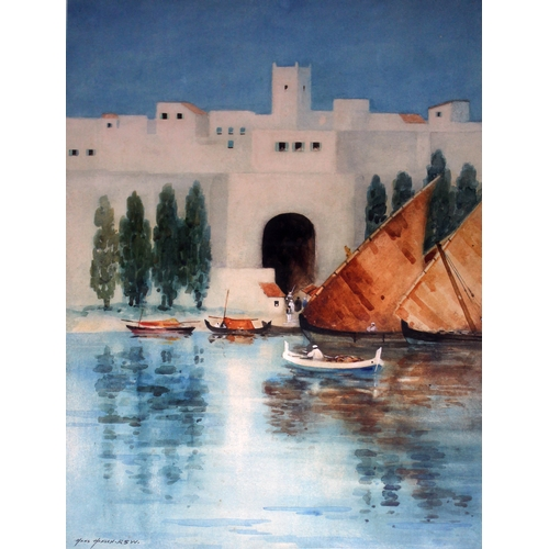 66 - Hans Jacob Hansen (1853)1947), North AFrican scene, watercolour, 34cm x 51cm, signed lower left, gla...