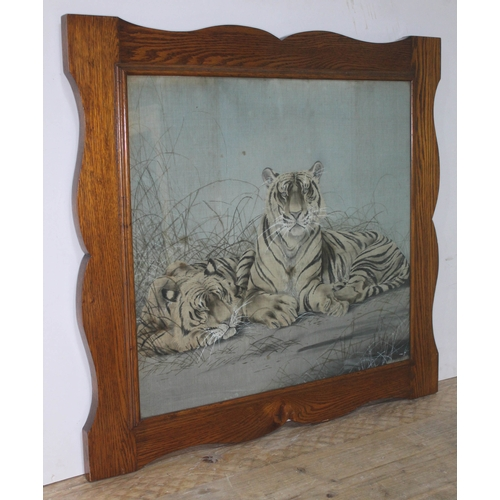 70 - Chinese(?), two tigers, painting on silk, 59cm x 54cm, oak frame 76cm x 71cm....