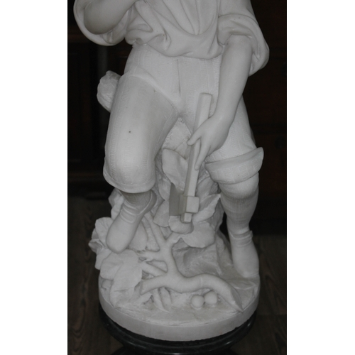 9 - Pieter Barranti (Italian, late 19th/early 20th century), a carved white marble figure depicting a bo...