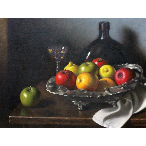 81 - Christopher Cawthorne, still life, oil on canvas, 48cm x 38cm, signed lower right, framed....