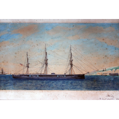 84 - 19th century school, H.M.S. Captain, watercolour, 36cm x 30cm, indistinctly signed lower right, glaz...
