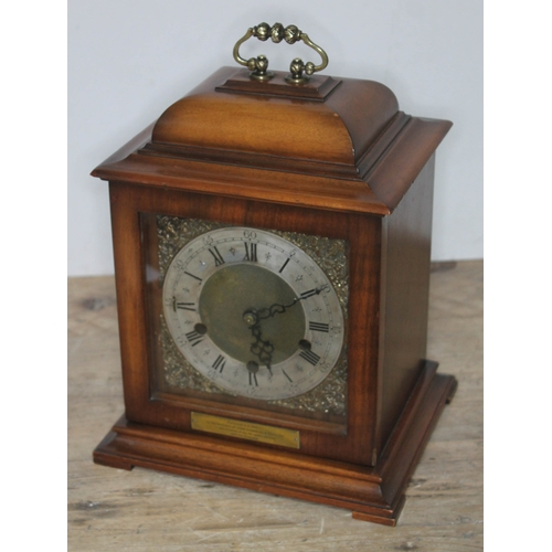 88 - A Smiths westminster chime mantle clock with brass and silvered dial, height 32cm....