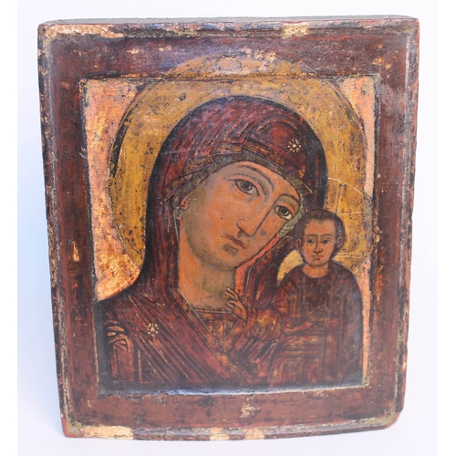 95 - A Russian icon depicting the Mother of God of Kazan, polychrome decoration of wooden panel, 18th/19t...