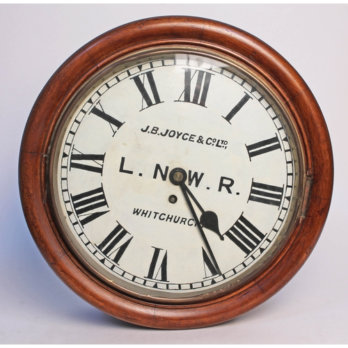 96 - A Victorian fusee railway wall clock, the painted dial with Roman Numerals and inscribed 'J.B Joyce ...