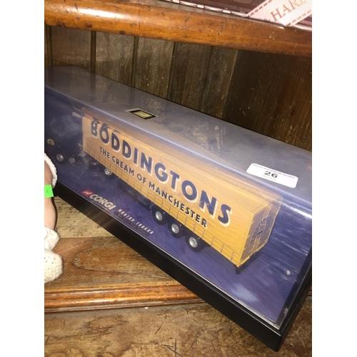 26 - A Corgi Boddingtons truck in original perspex case....