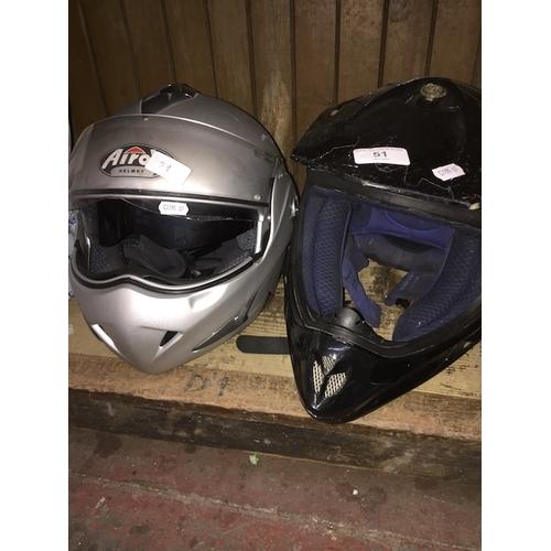 51 - 2 crash helmets...