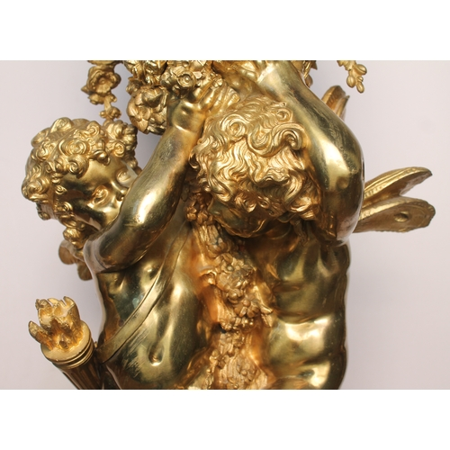 6 - Auguste Moreau (1834-1917), a French 19th century gilt bronze figural clock formed as two winged che...