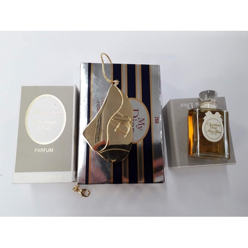 4 - Two 7,5ml bottles of Christian Dior Miss Dior perfume and a Christian Dior My Dior compact....