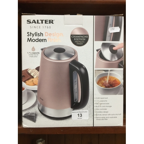 13 - A Salter Champagne Edition 1.7L kettle - boxed...