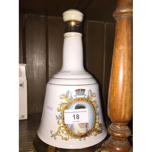 18 - A Bells Queen Elizabeth whisky decanter - full and sealed....