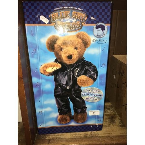 31 - A boxed Blue Sky Bears, Elvis Presley singing bear....