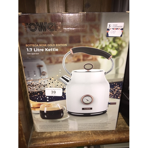 39 - A Tower 1.7 L kettle, boxed. - faulty...