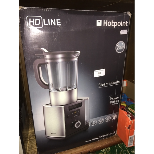 40 - HD Line Hotpoint steam blender with steam cooking technology, boxed...