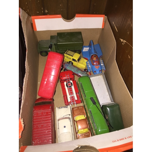 41 - A box of playworn Corgi and other model vehicles....
