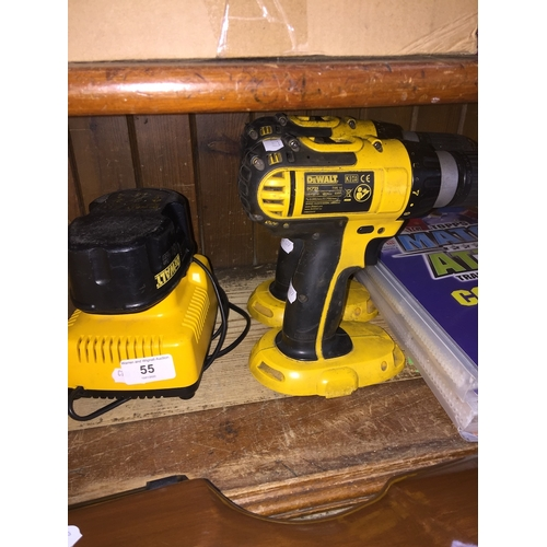 55 - Two cordless Dewalt drills with 1 battery and a battery charger...