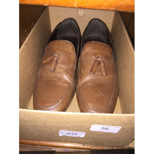 56 - Pair mens brown leather Red Herring moccasins size 9...