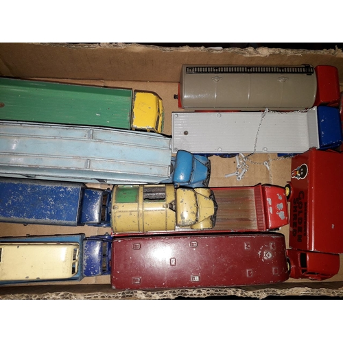10 - A box of playworn Dinky and other model vehicles....