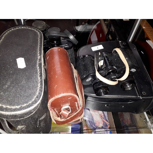 7 - Carl Zeiss Jena Jenoptem 8 X 30 W binoculars in leather case, Carl Veitch binoculars in case and a A...