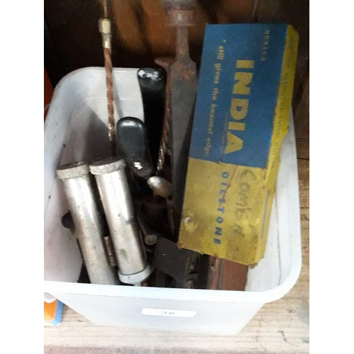 38 - Collection of various tools to include oilstone....