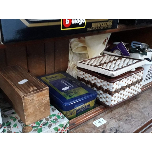 46 - Collection of haberdashery and related items - 6 boxes / baskets and a bag....