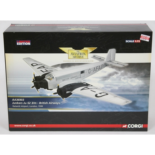 23 - Corgi The Aviation Archive Junkers Ju-52 3/m - British Airways, Gatwick Airport, London, 1936, AA369...