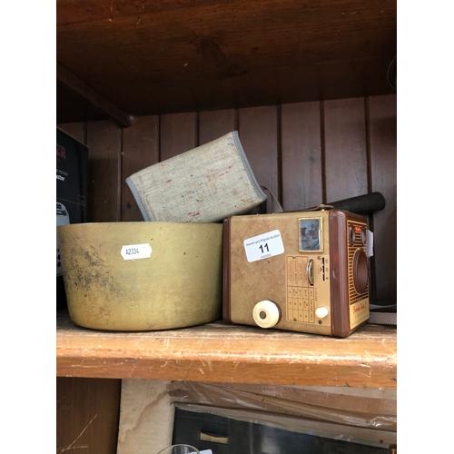 11 - A brass pan and a vintage Kodak Brownie Flash B camera....